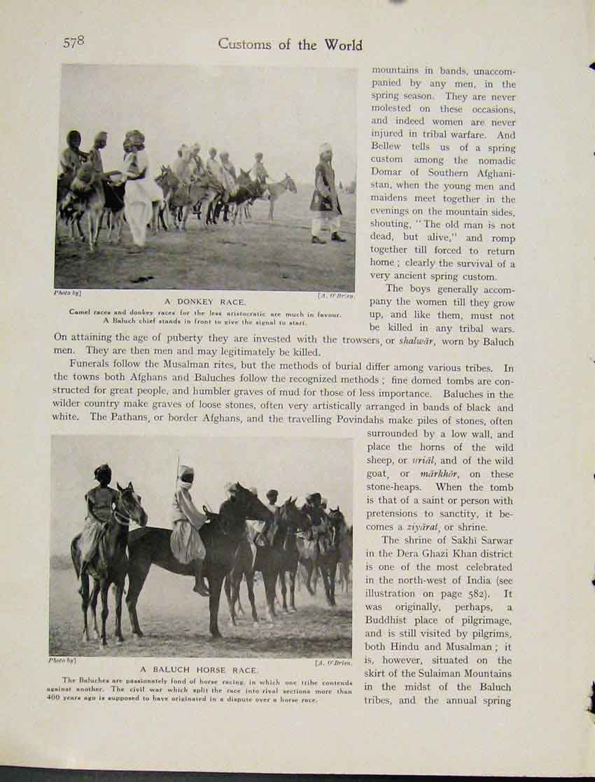 Print Donkey Race Baluch Horse Race Afgans Photograph C1931 787521 Old Original