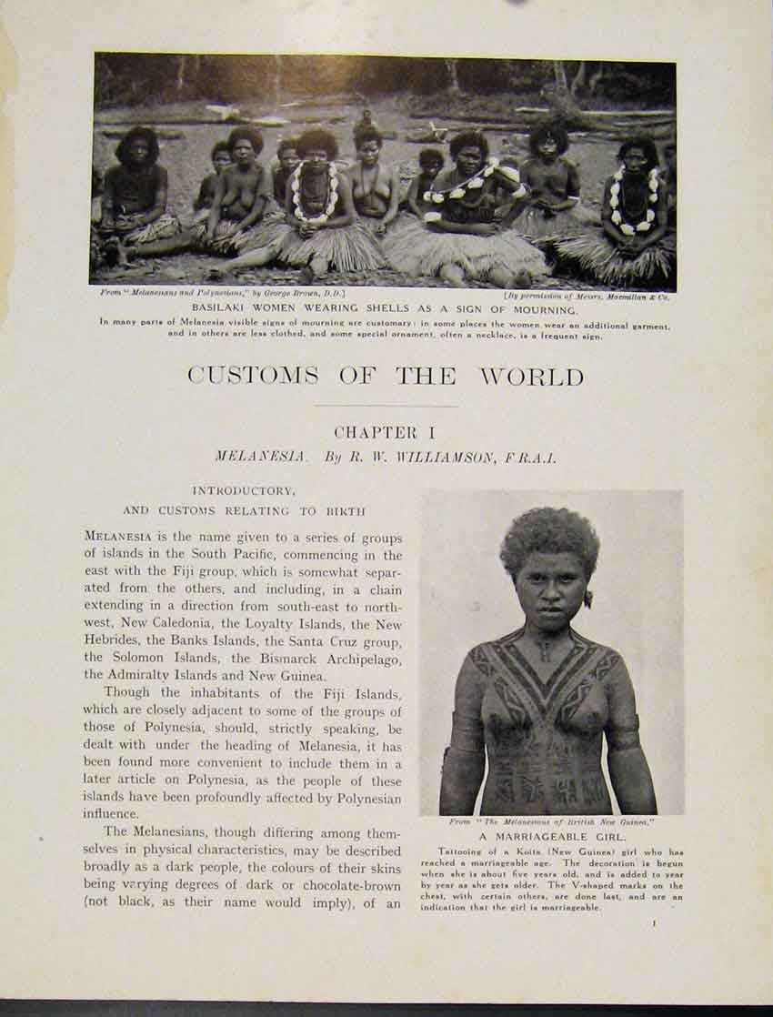 [Print Melanesia Basilaki Woman Mourning Marriage Girl 077521 Old Original]