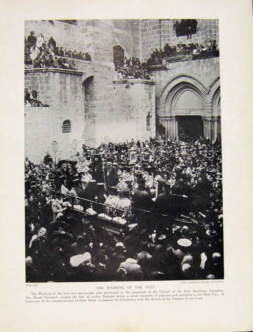 Print Palm Sunday Jerusalem Church Hsepulchre 6087531 Old Original
