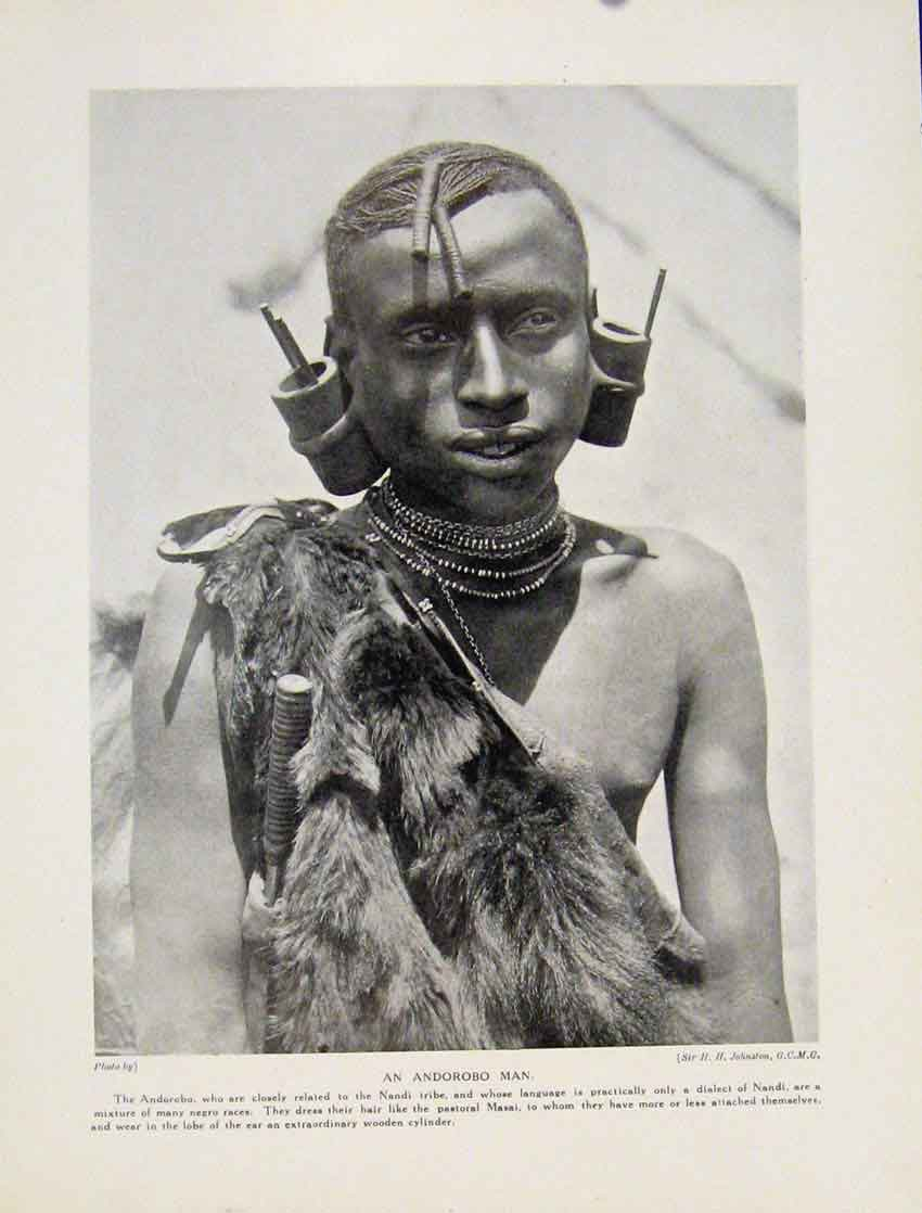 Print Masai Warriors Men Bow Arrow Blub Sword Africa 8607531 Old Original
