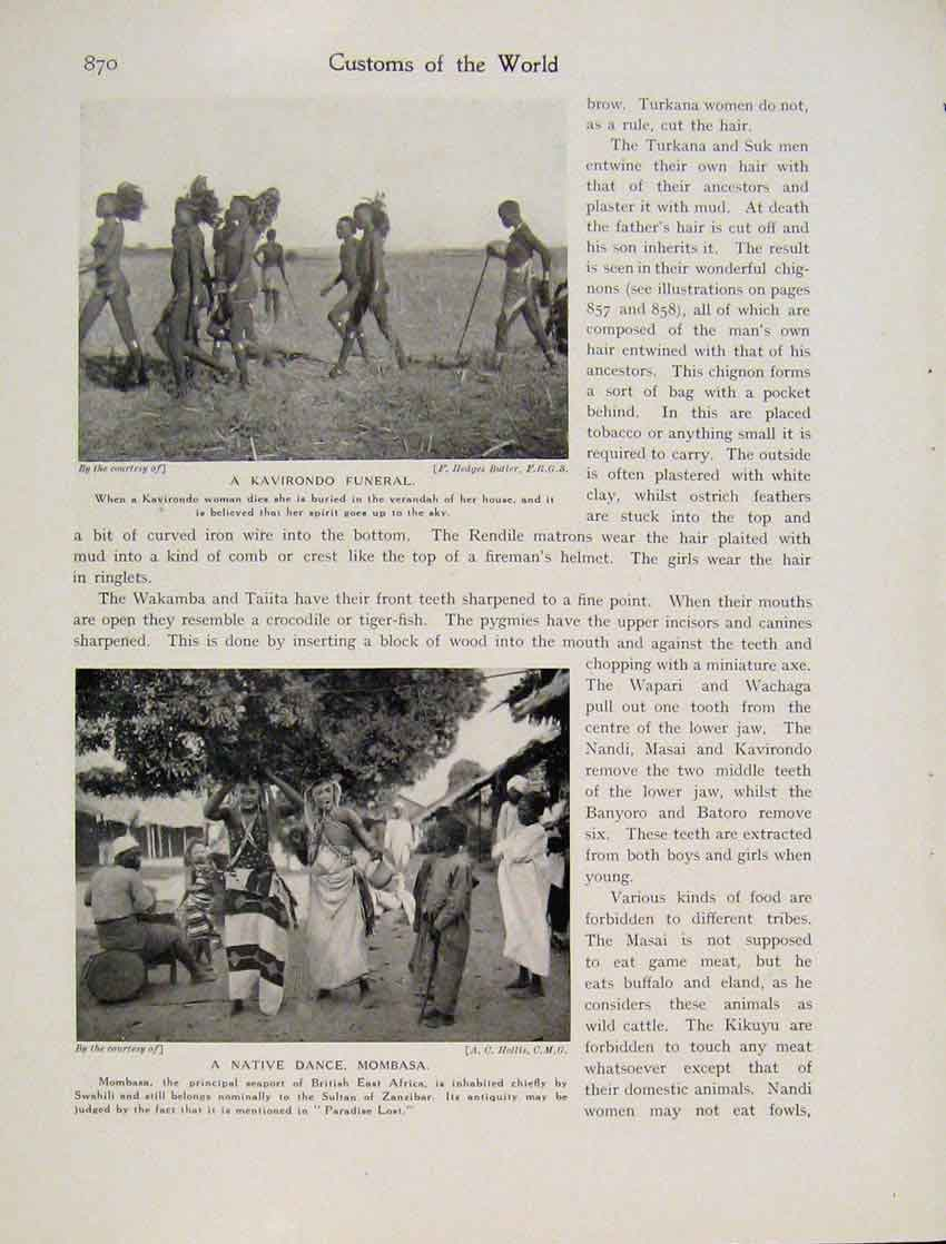Print Kavirondo Funeral Native Dance Mombasa 1931 8707531 Old Original