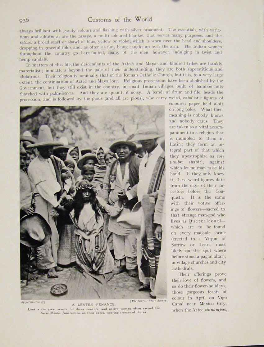 Print Lenten Peance Native Women Sacre Monte Amecamica Photo 9367531 Old Original
