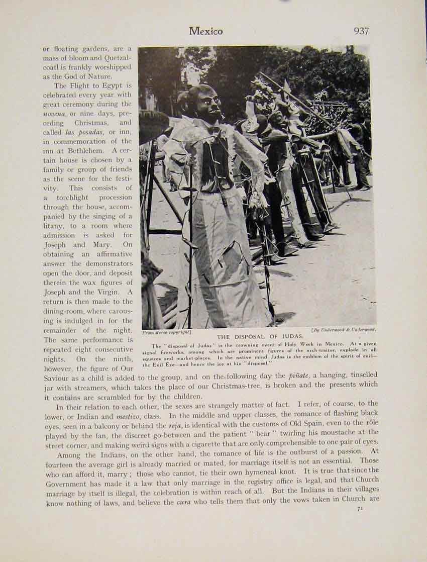 Print Mexico Judas Disposal Holy Week Fireworks March 9377531 Old Original