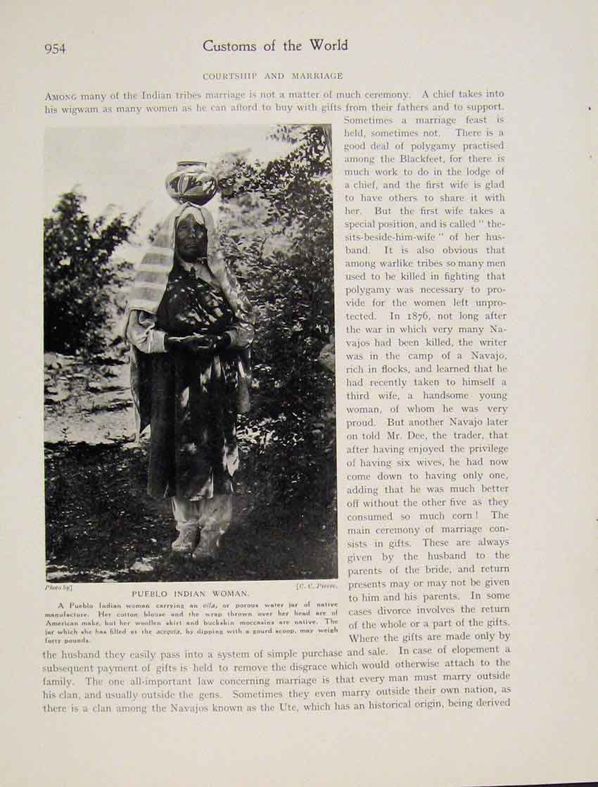 Print Pueblo Indian Woman Photo C1931 Water Jar 9547531 Old Original