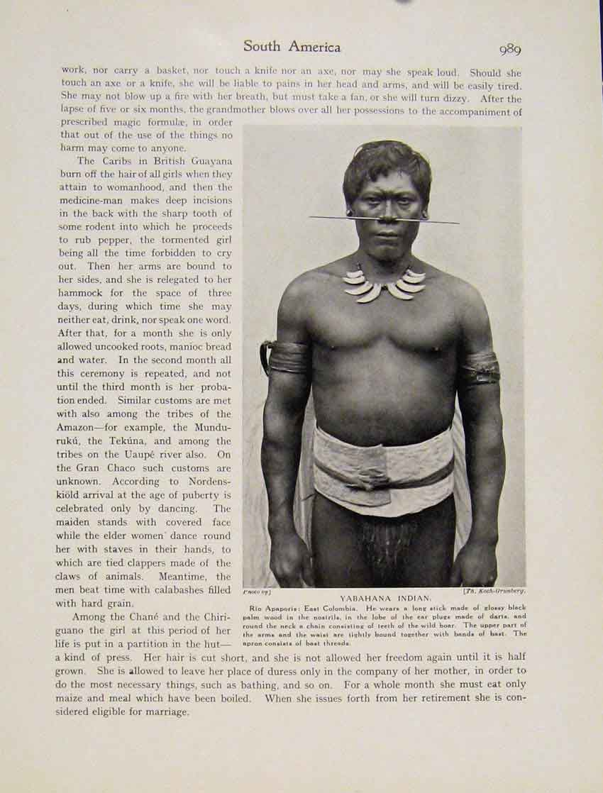 Print Yabahana Indian Rio Apaporis East Columbia Man Photo 9897531 Old Original