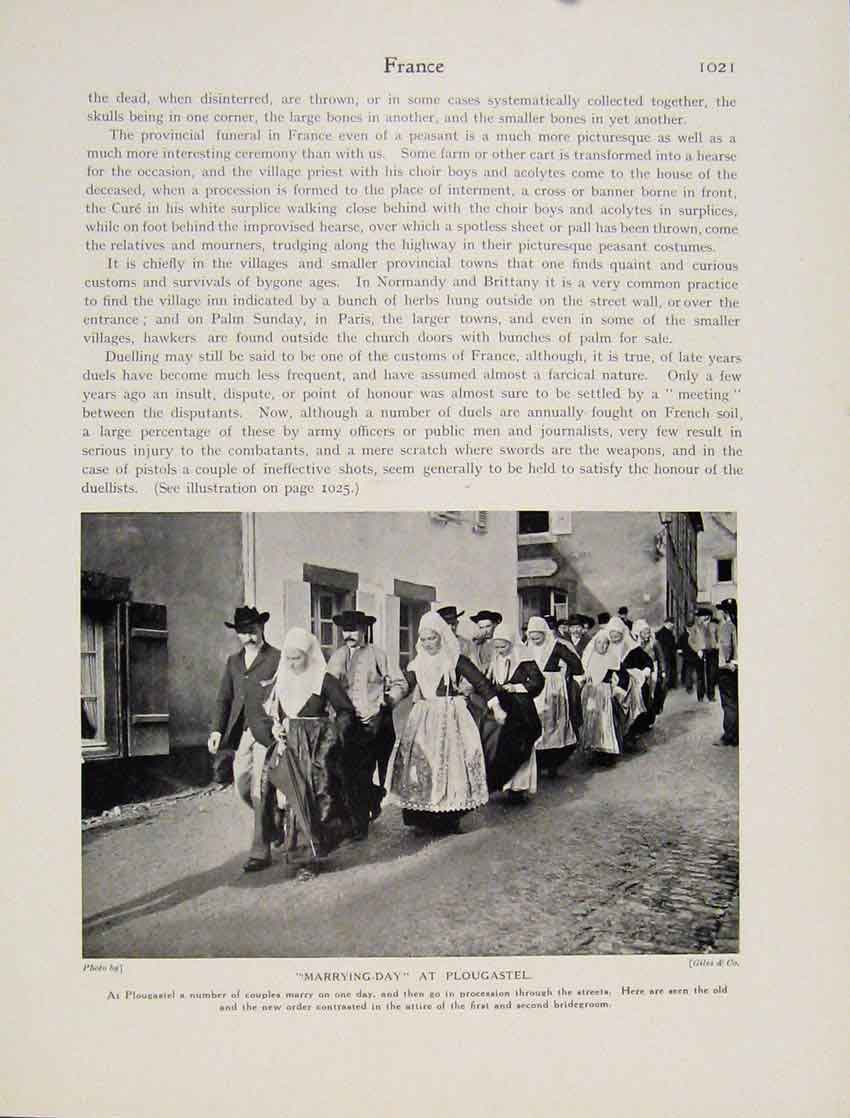 Print Marrying Day Plougastel Marriage Many Couples 0217531 Old Original