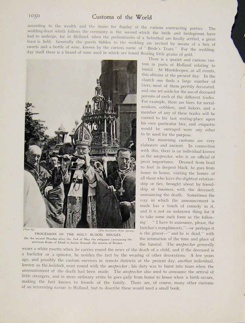 Print Procession Holy Blood Bruges May C1931 Photo 0507531 Old Original
