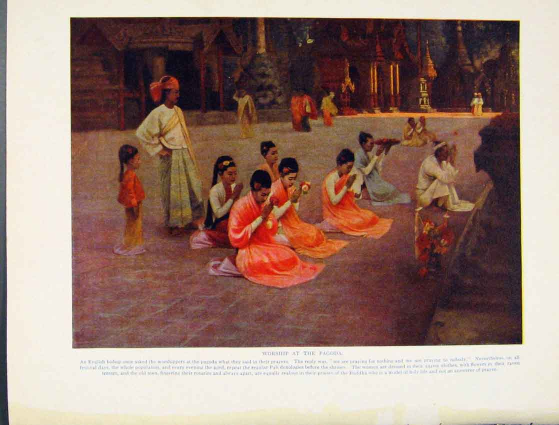 Print Worhsip Pagoda English Bishop Buddha Color Art 2077531 Old Original
