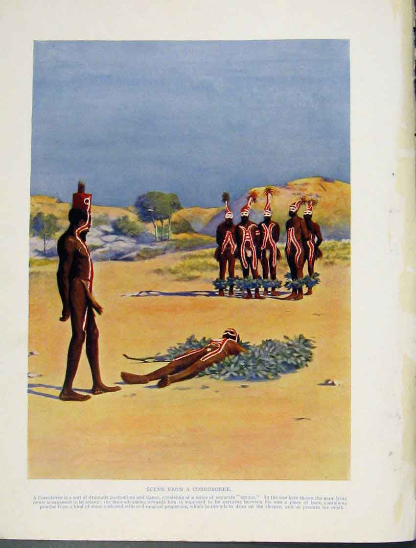 Print Scene Corroboree Pantomine Dance Sleeping Color 2117531 Old Original
