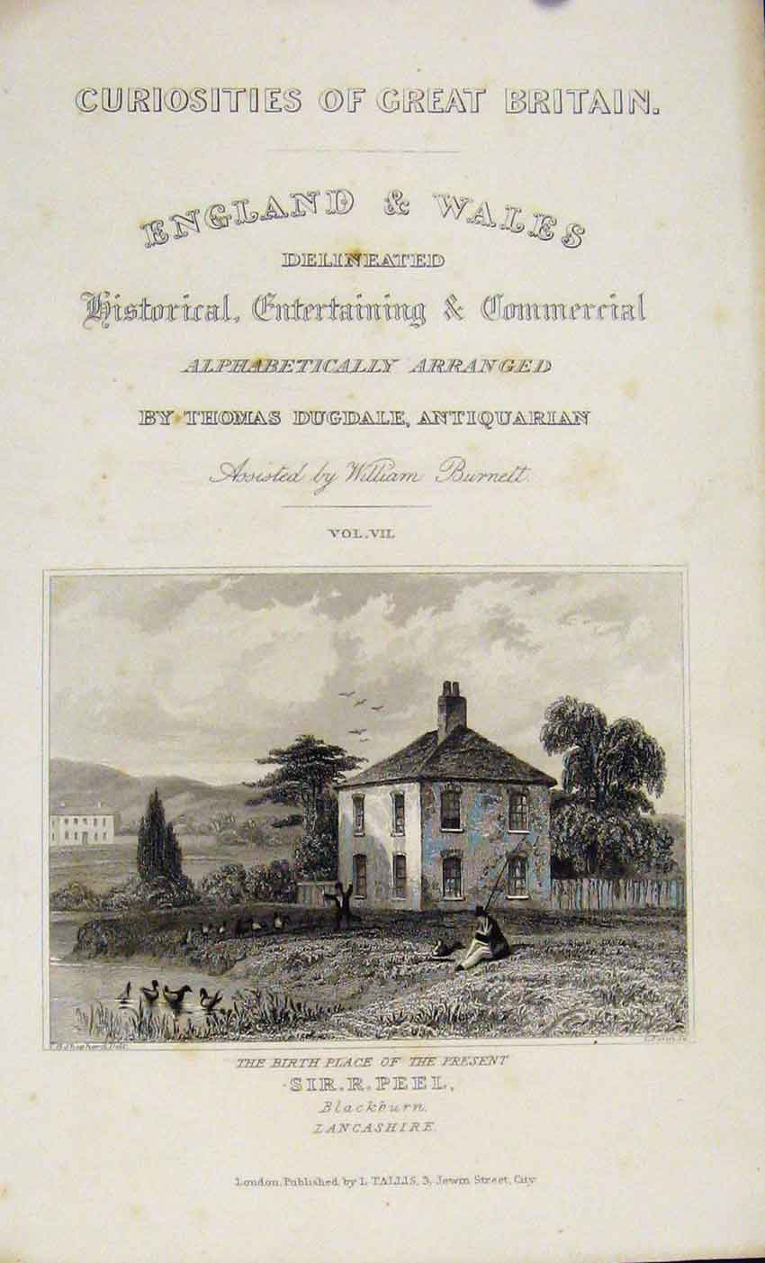 Print Dugdale C1845 Sir Peel Birth Place Lancashire 027541 Old Original
