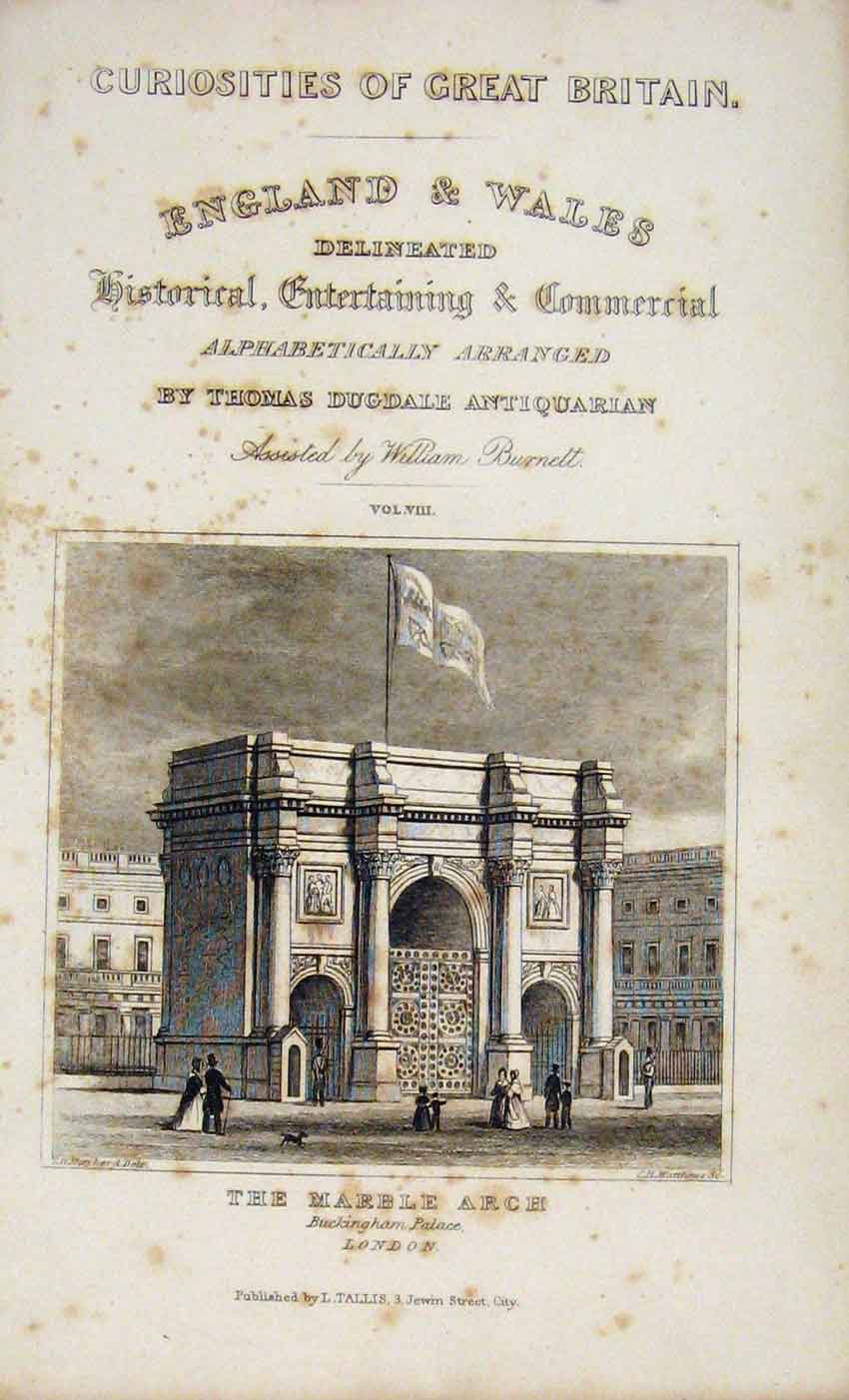 Print Dugdale C1845 Marble Arch London Fine Art 047541 Old Original