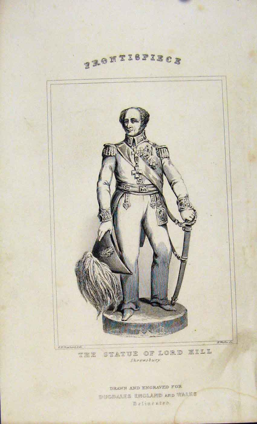 Print Dugdale C1845 Statue Lord Hill Shrewsbury 057541 Old Original