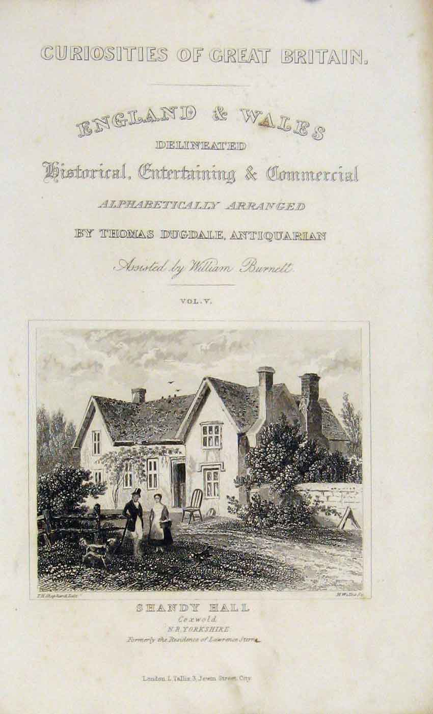 Print Dugdale C1845 Shandy Hall Yorkshire 157541 Old Original