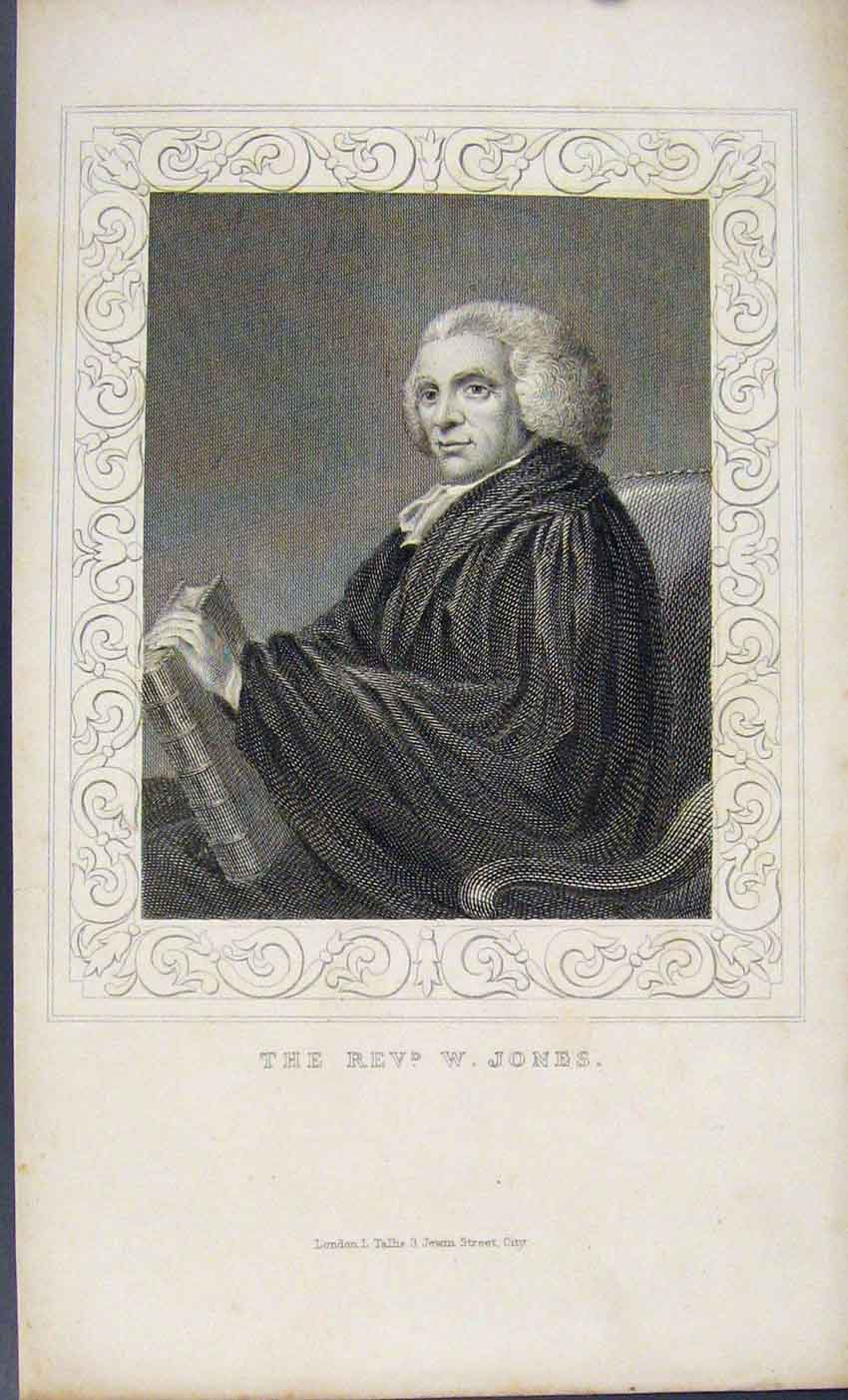 Print Dugdale C1845 Portrait Rev W Jones 257541 Old Original