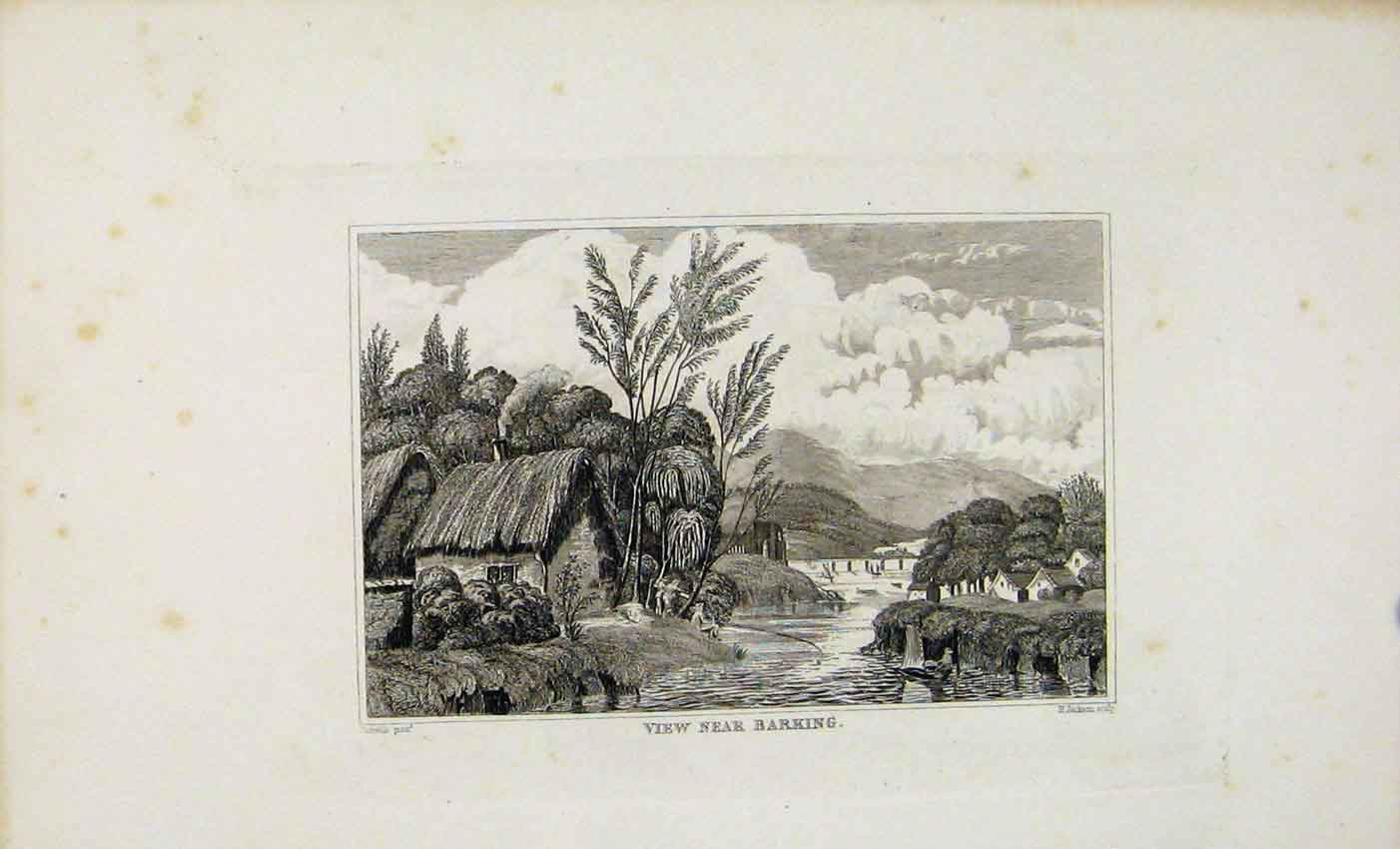 Print Dugdale C1845 View Near Barking England 027541 Old Original