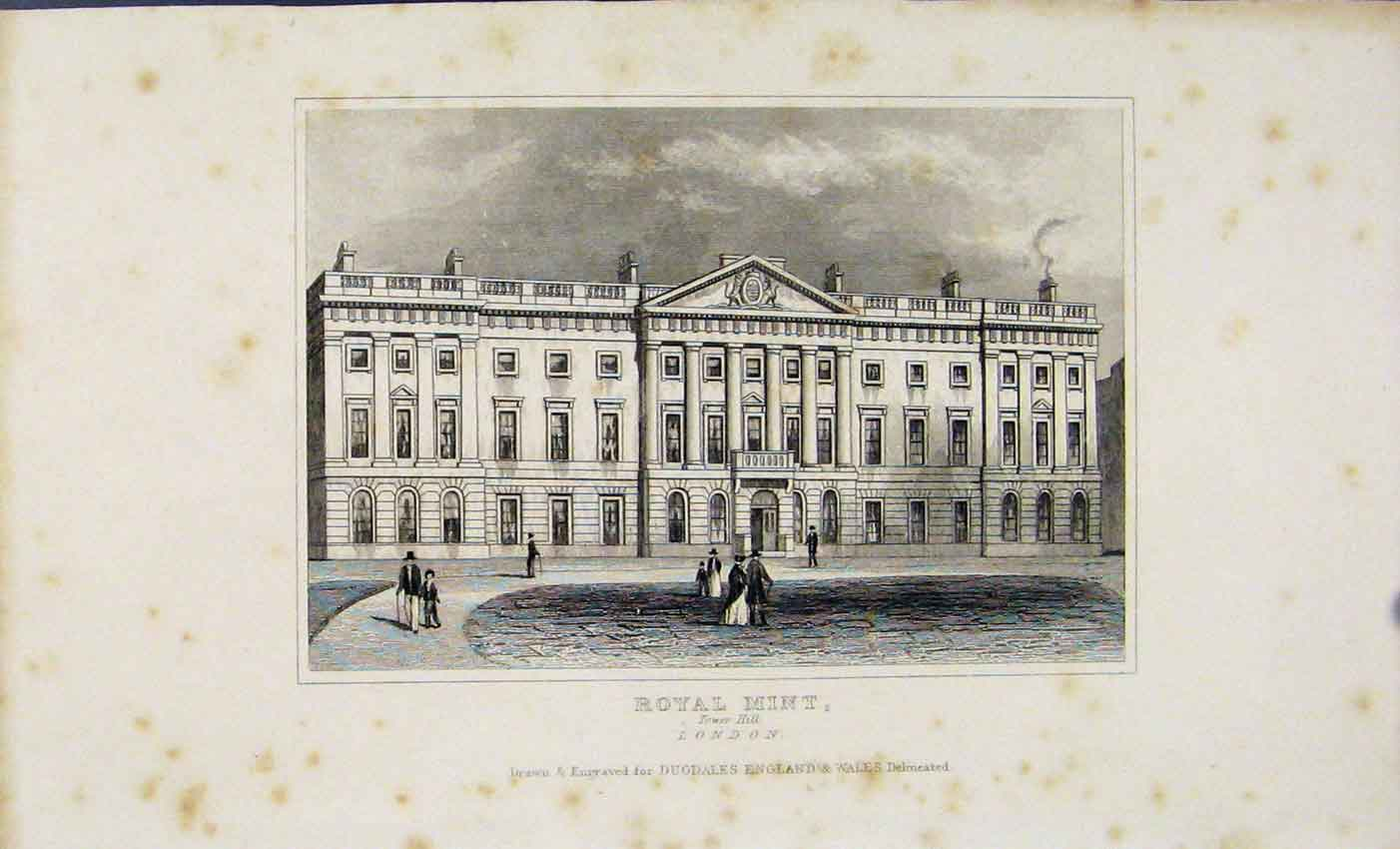 Print Dugdale 1845 Royal Mint Tower Hill London 107541 Old Original