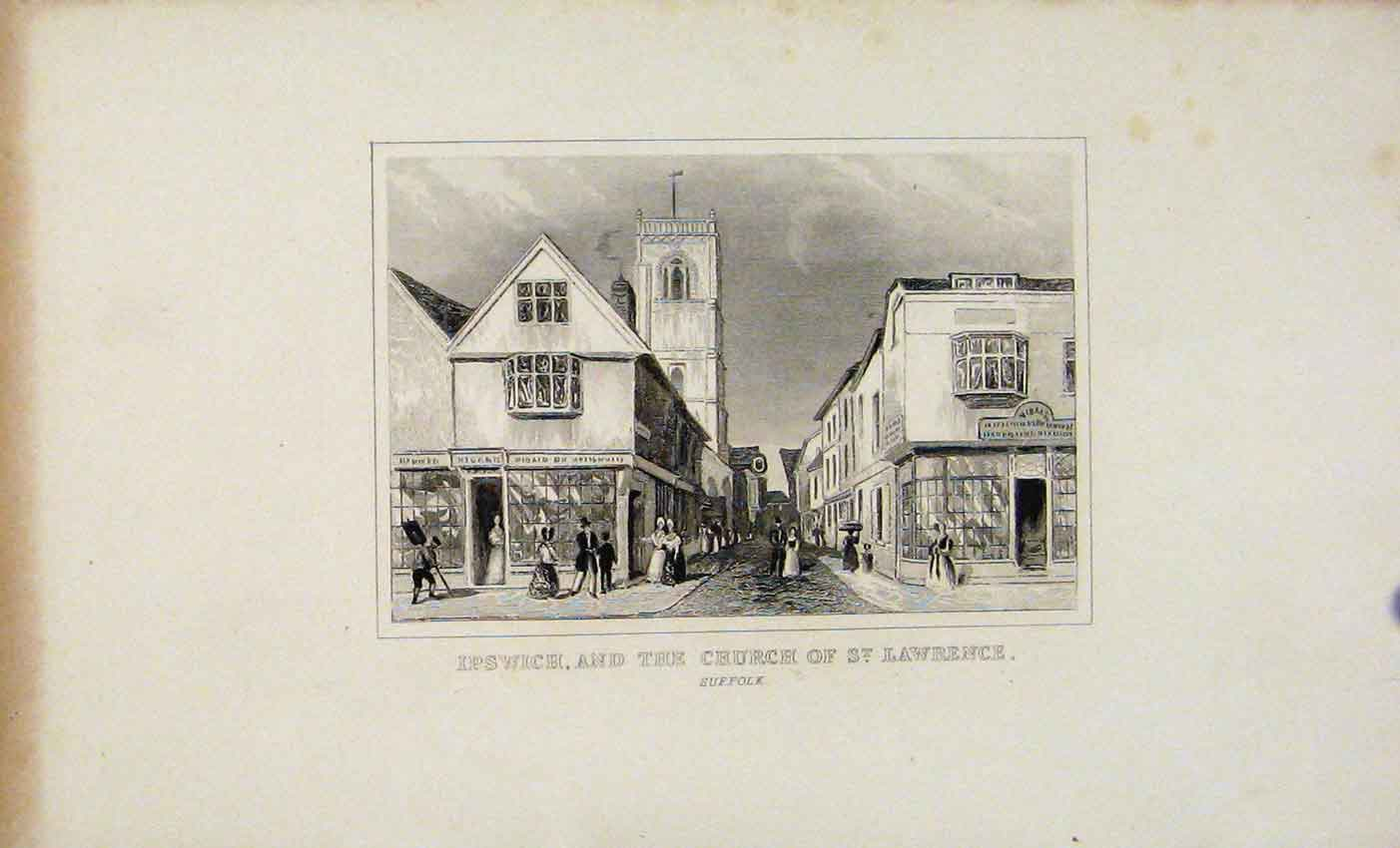 Print Dugdale C1845 Ipswich The Church St Lawrence 227541 Old Original