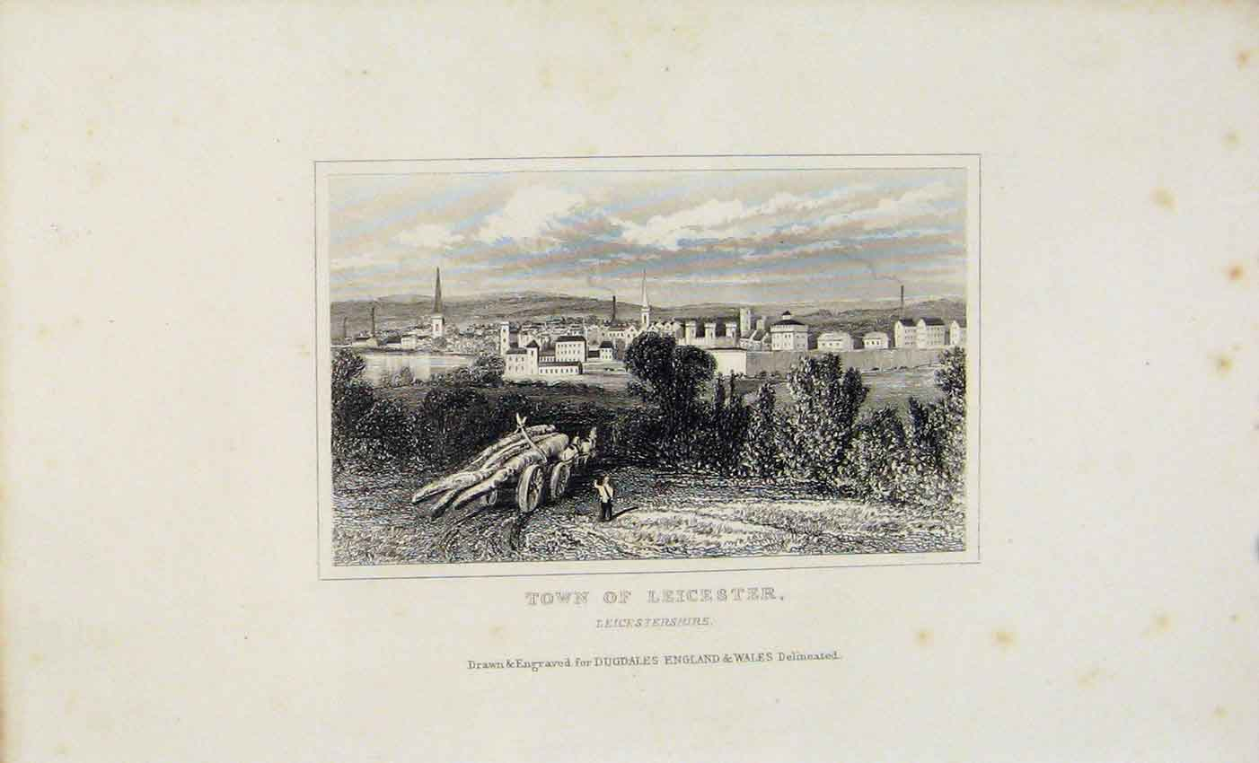 Print Dugdale C1845 Town Leicester England Art 277541 Old Original