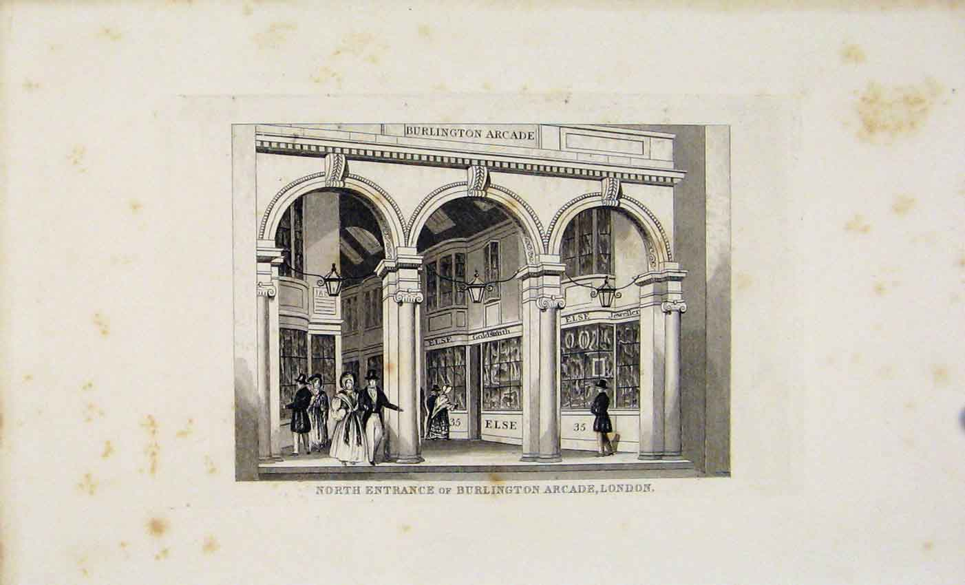 Print Dugdale C1845 Burlington Arcade London Art 297541 Old Original