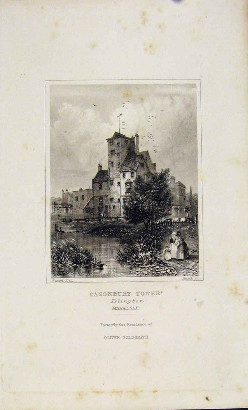 Print Dugdale C1845 Canonbury Tower Islington 307541 Old Original
