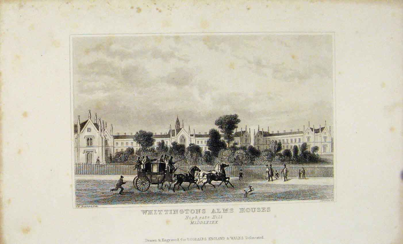 Print Dugdale 1845 Wittingtons Alms Houses Highgate 377541 Old Original