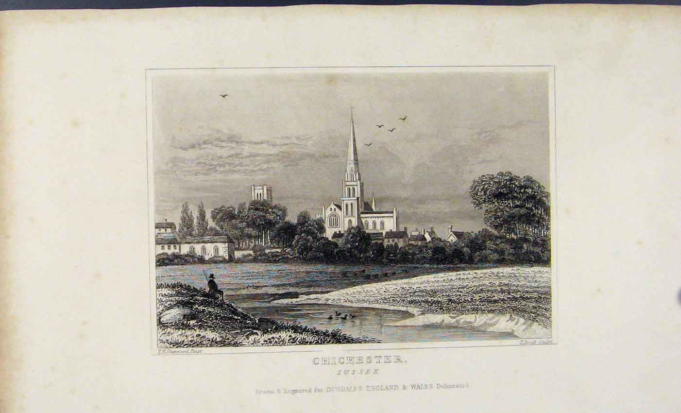 Print Dugdale C1845 Chichester Sussex England Art 417541 Old Original