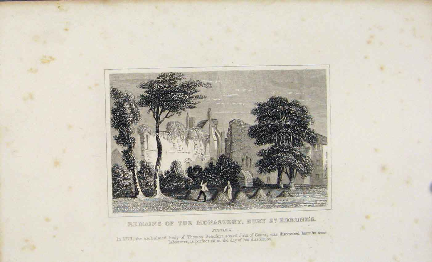 Print Dugdale C1845 Remains Monastery St Edmunds 427541 Old Original