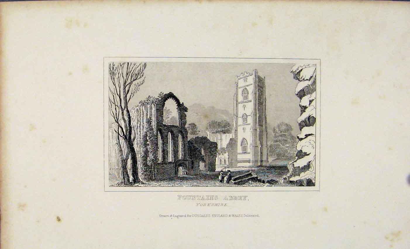 Print Dugdale C1845 Fountains Abbey Yorkshire 477541 Old Original