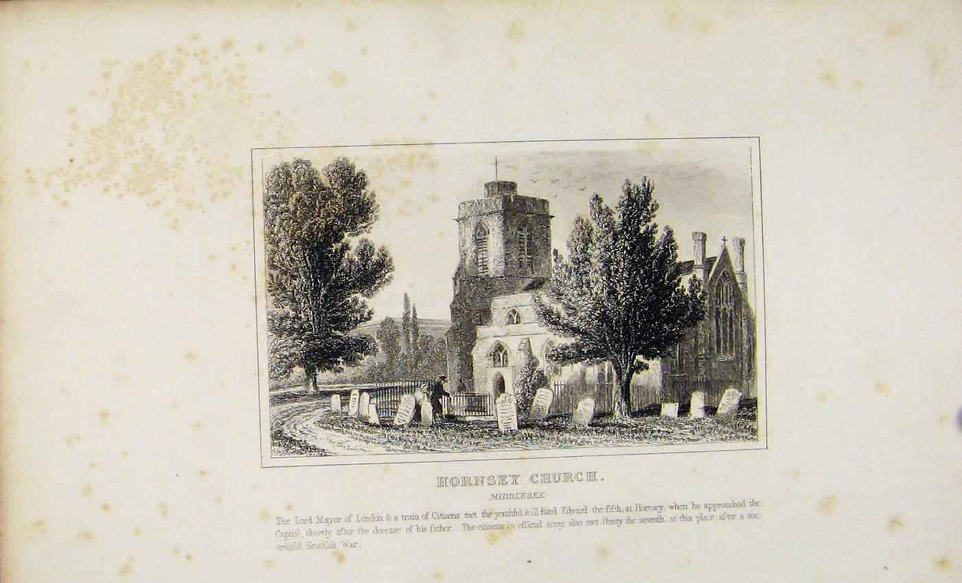Print Dugdale C1845 Hornsey Church Middlesex 527541 Old Original