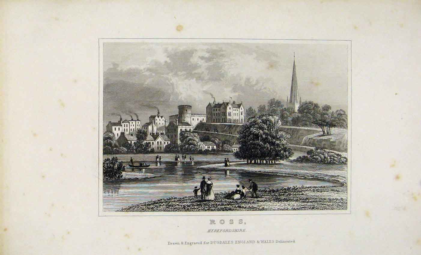 Print Dugdale C1845 Ross Herefordshire England 547541 Old Original