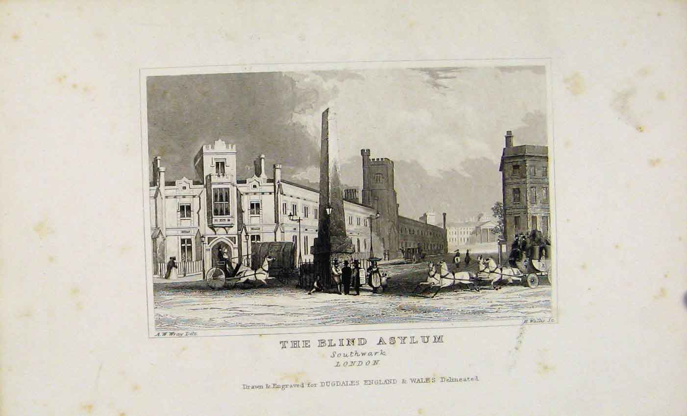 Print Dugdale C1845 The Blind Asylum Southwark 577541 Old Original
