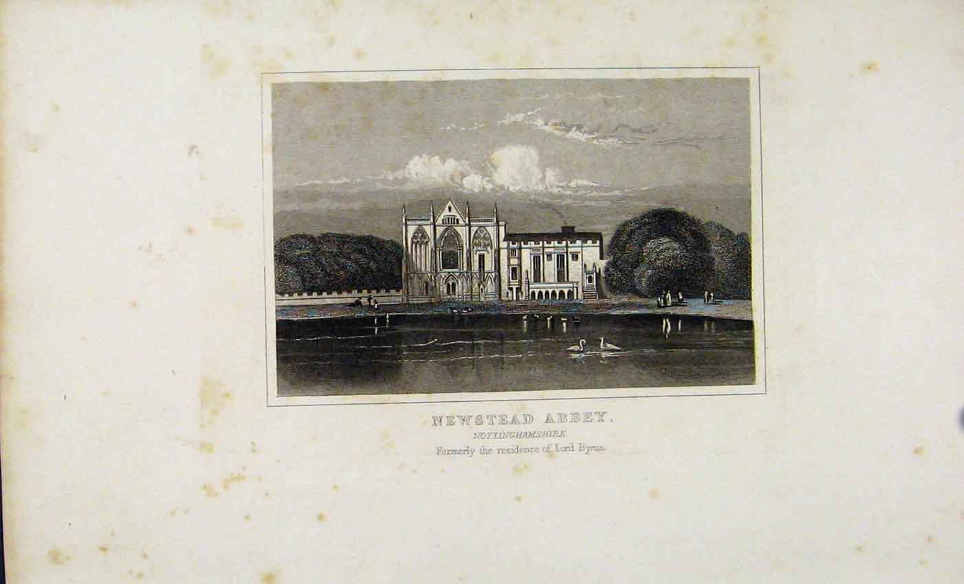 Print C1845 Dugal Newstead Abbey Nottinghamshire England 747541 Old Original