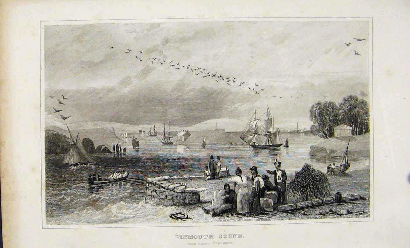 Print C1845 Dugdale Plymouth Sound And Mount Edgcombe 847541 Old Original