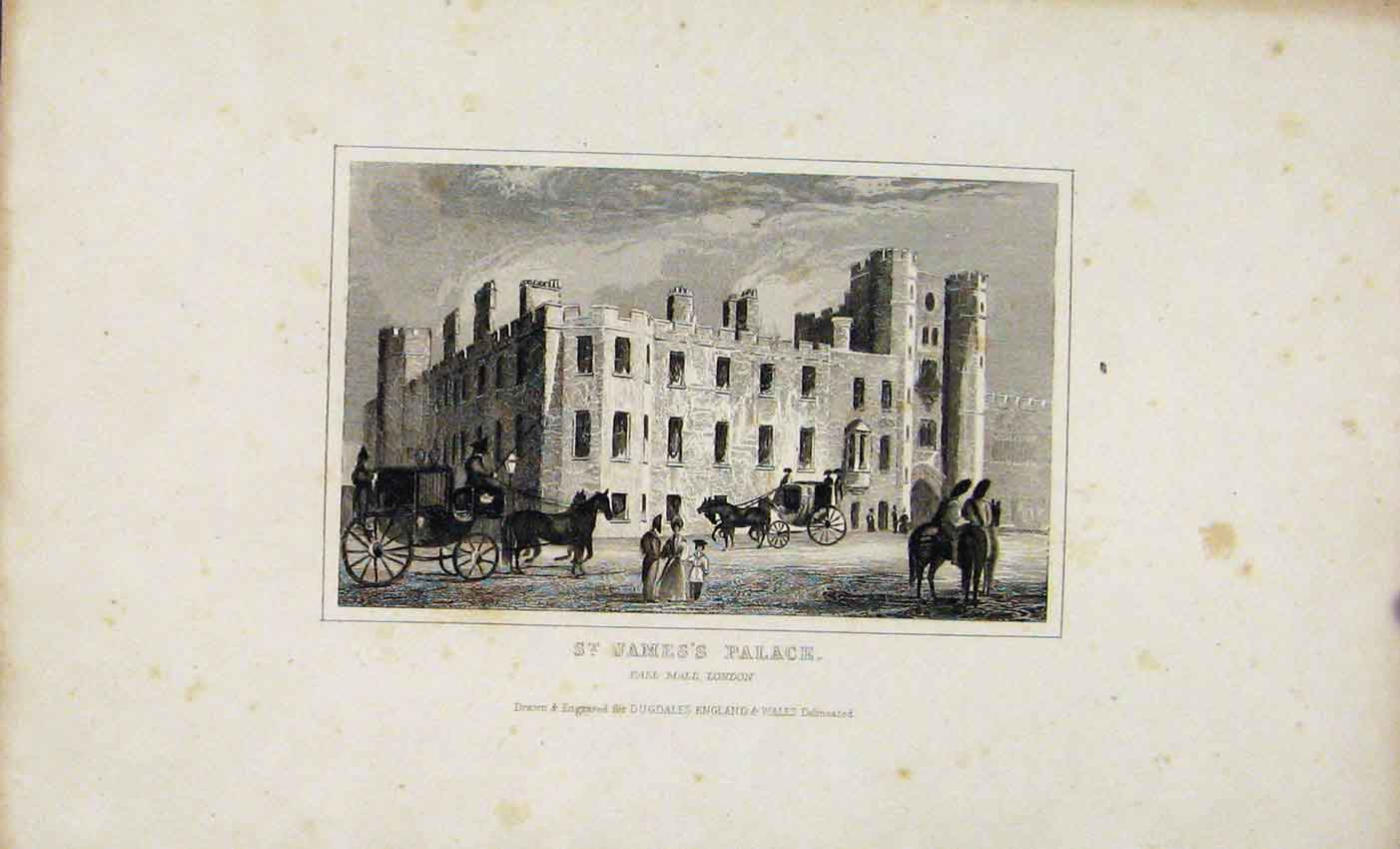 Print Dugdale C1845 St James Palace London Engraved Plate Art 867541 Old Original