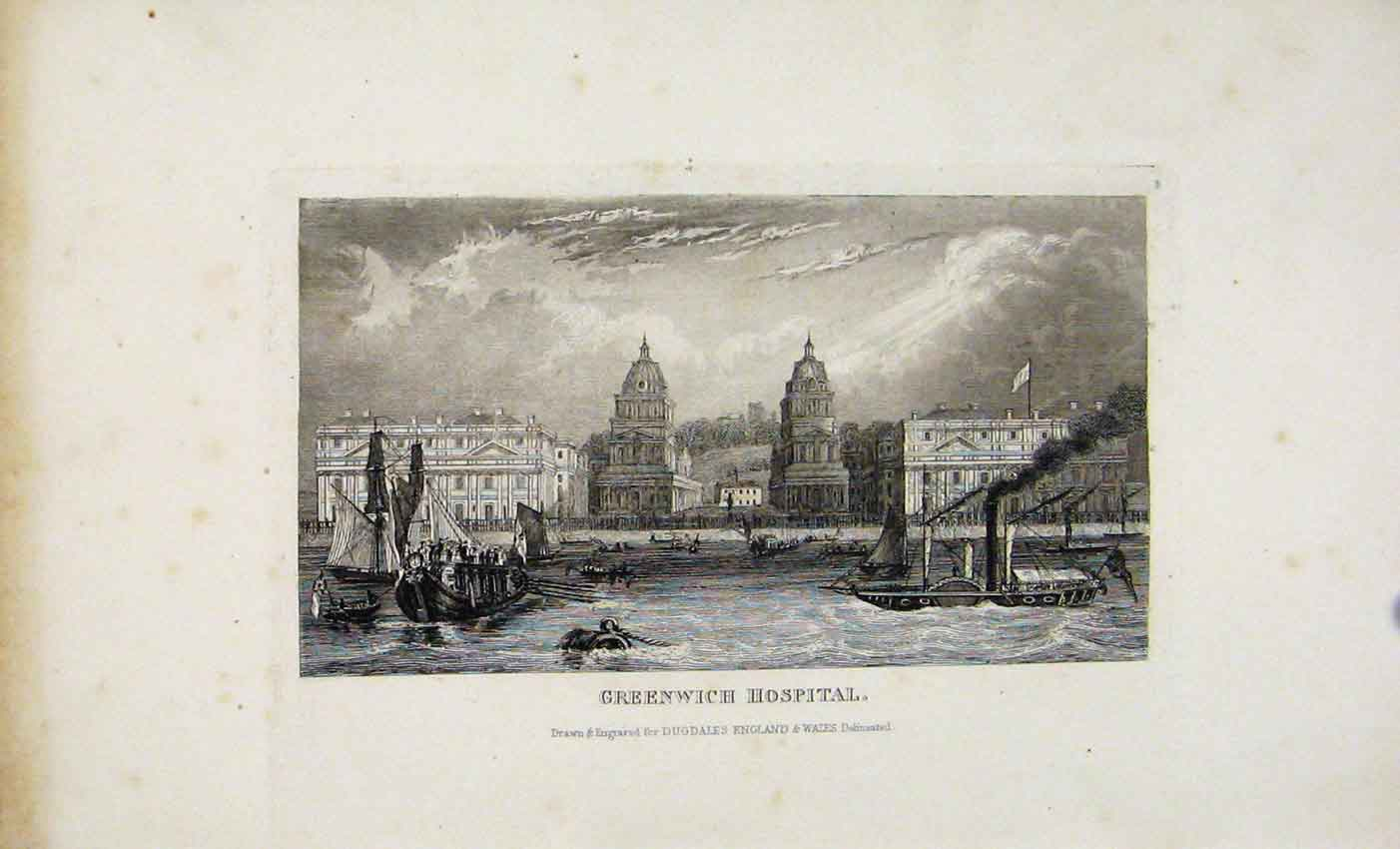 [Print Greenwich Hospital Dugdale C1845 Steel Engraved Plate 947541 Old Original]
