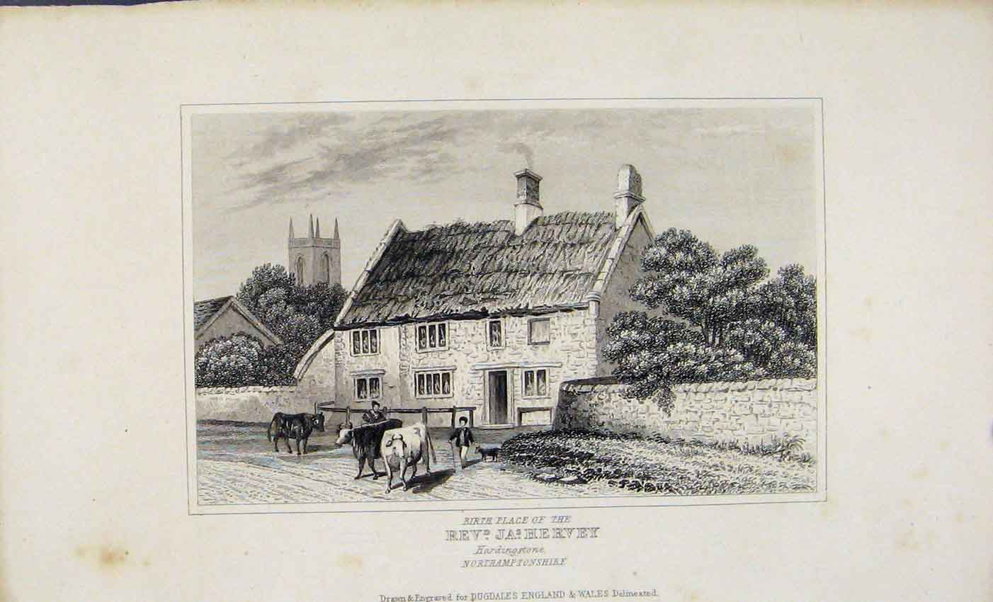 Print Birth Place Rev Hervery Hardingstone Dugdale C1845 047541 Old Original