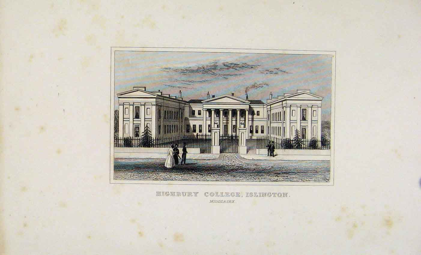 Print Highbury College Islington Dugdale C1845 067541 Old Original