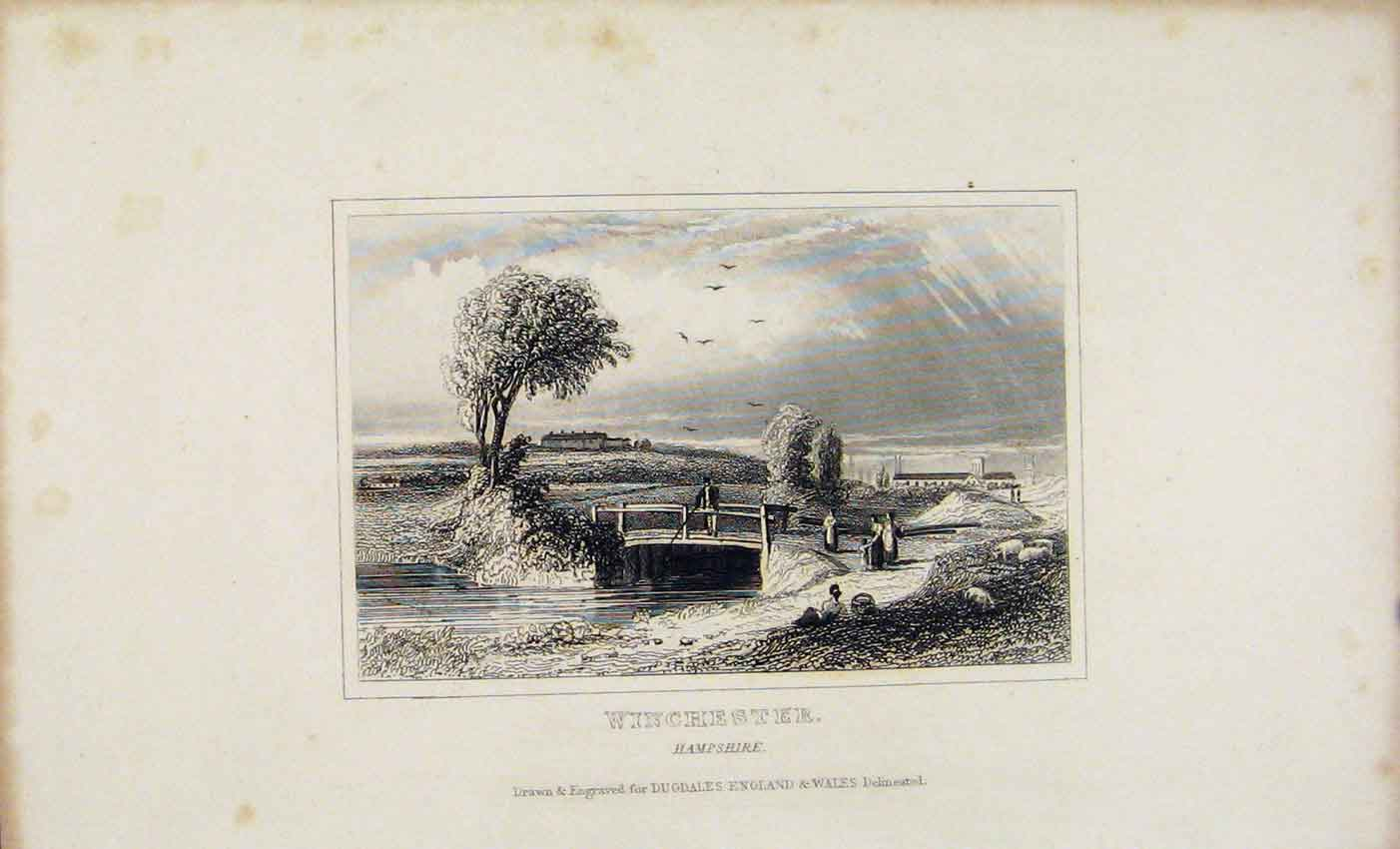 Print C1845 Winchester Hampshire England 137541 Old Original