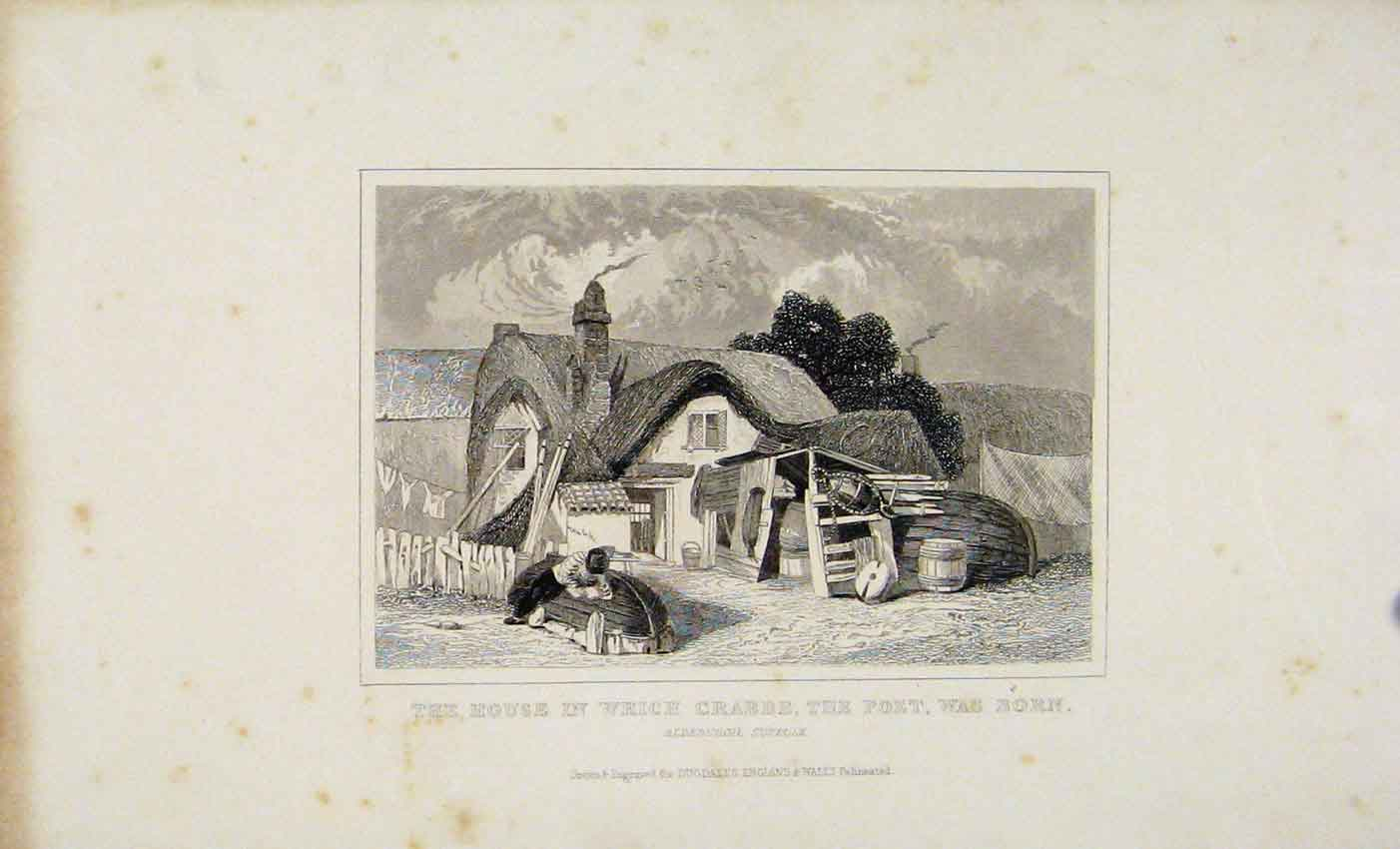 Print C1845 Dugdale House Which Crabbe The Poet Was Born 197541 Old Original