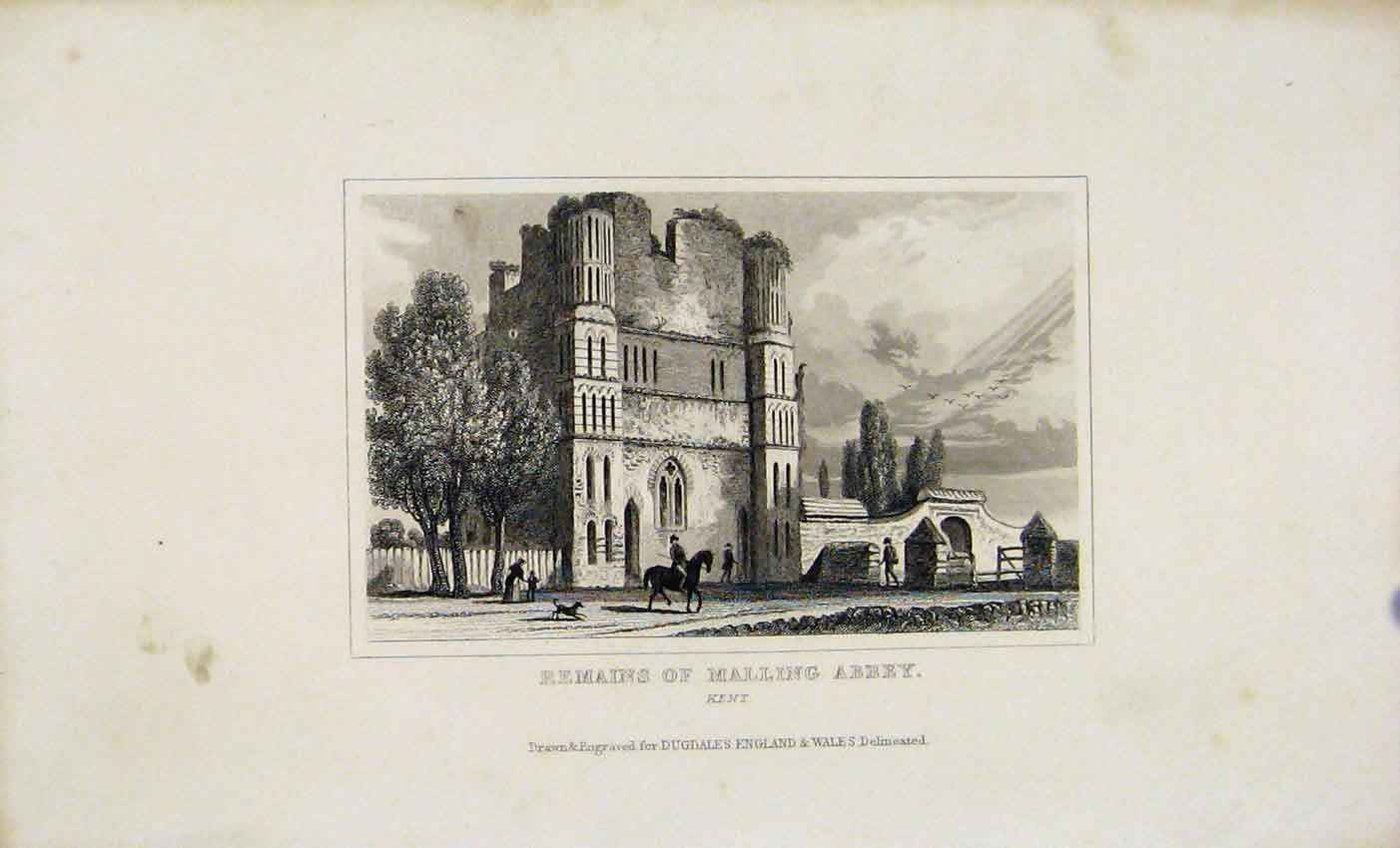 Print Remaing Malling Abbey Kent Dugdale C1845 437541 Old Original