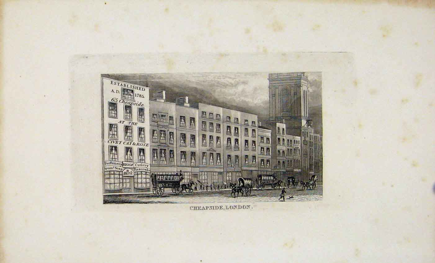 Print Dugdale C1845 Cheapside London Fine Art 447541 Old Original