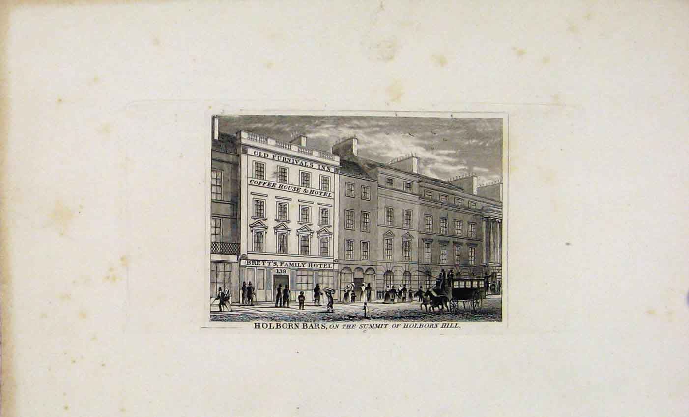 Print C1845 Dugdale Holborn Bars Summit Holborn Hill 467541 Old Original