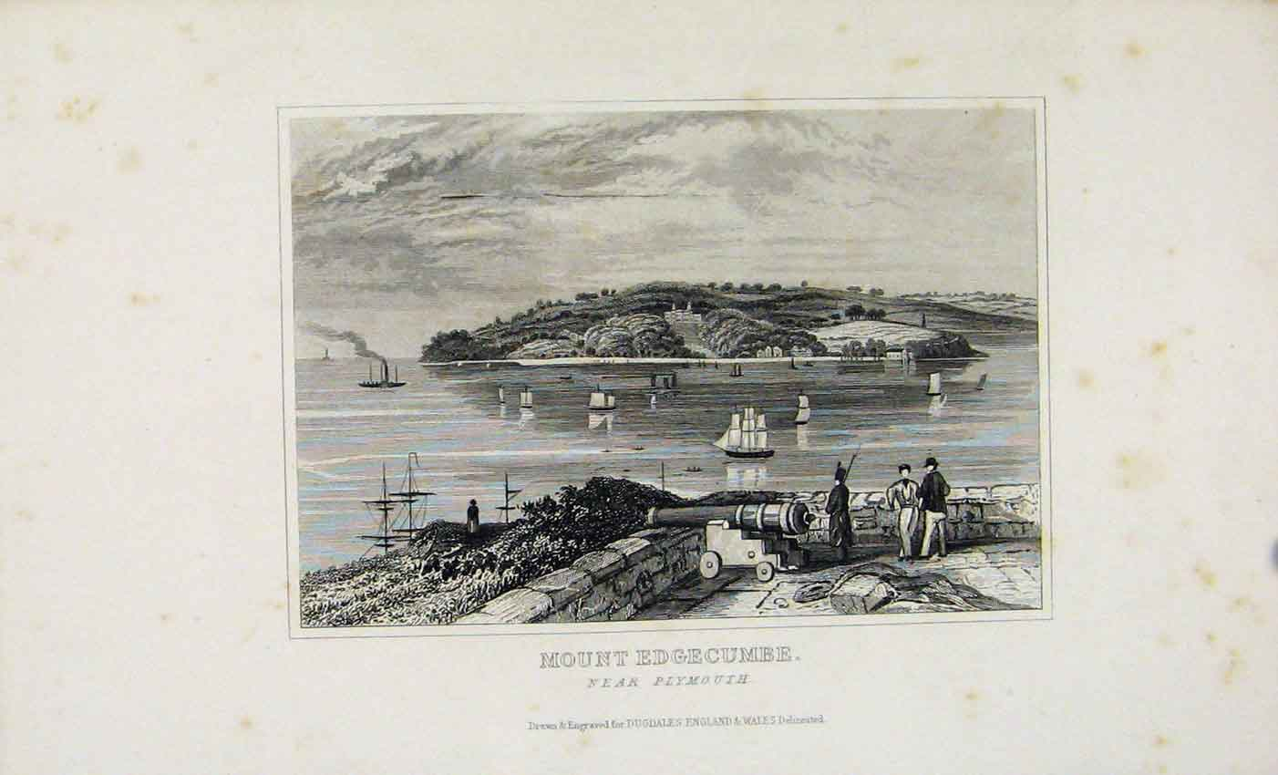 Print Mount Edgecumbe Plymouth C1845 Dugdale 487541 Old Original
