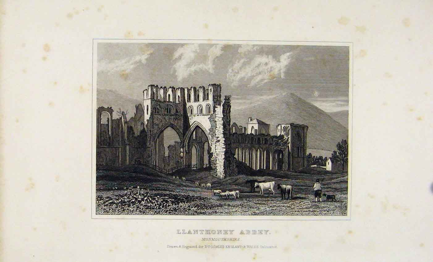Print Dugdale C1845 Llanthoney Abbey Monmouthshire 537541 Old Original
