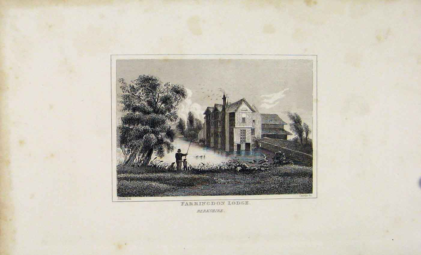 Print Farringdon Lodge Berkshire C1845 Dugdale 617541 Old Original