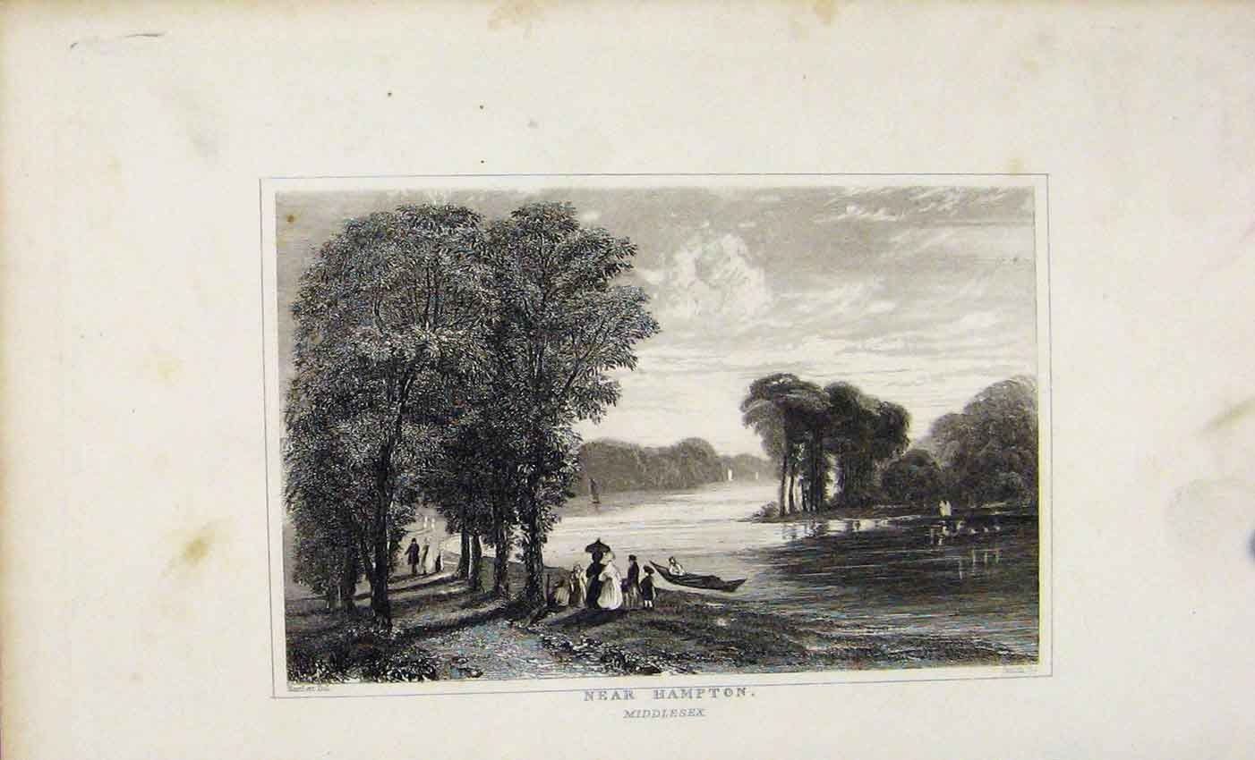 Print Dugdale C1845 Near Hampton Middlesex England 627541 Old Original