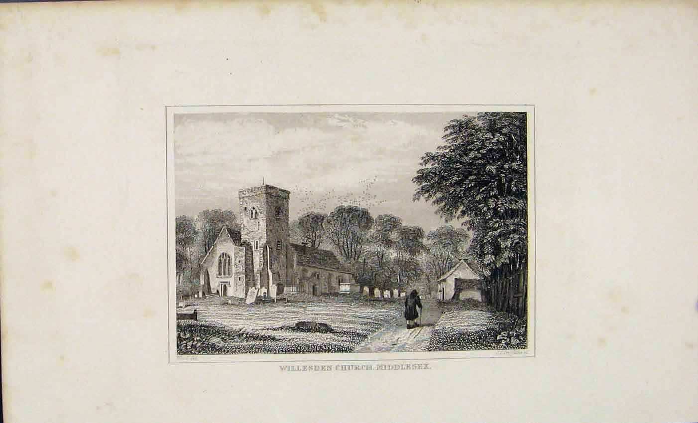 Print Willesden Church Middlesex Dugdale C1845 637541 Old Original