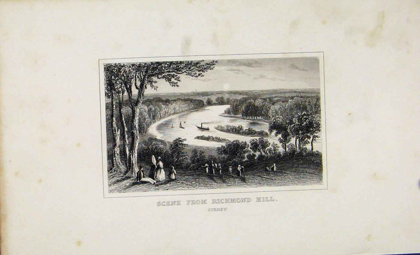 Print Scene From Richmond Hill Surrey C1845 Dugdale England 677541 Old Original