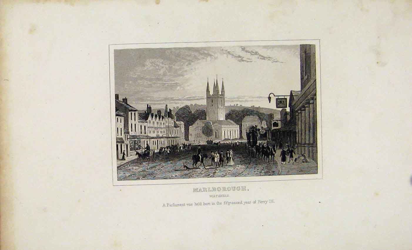 Print Marlrorough Wiltshire C1845 Dugdale 707541 Old Original