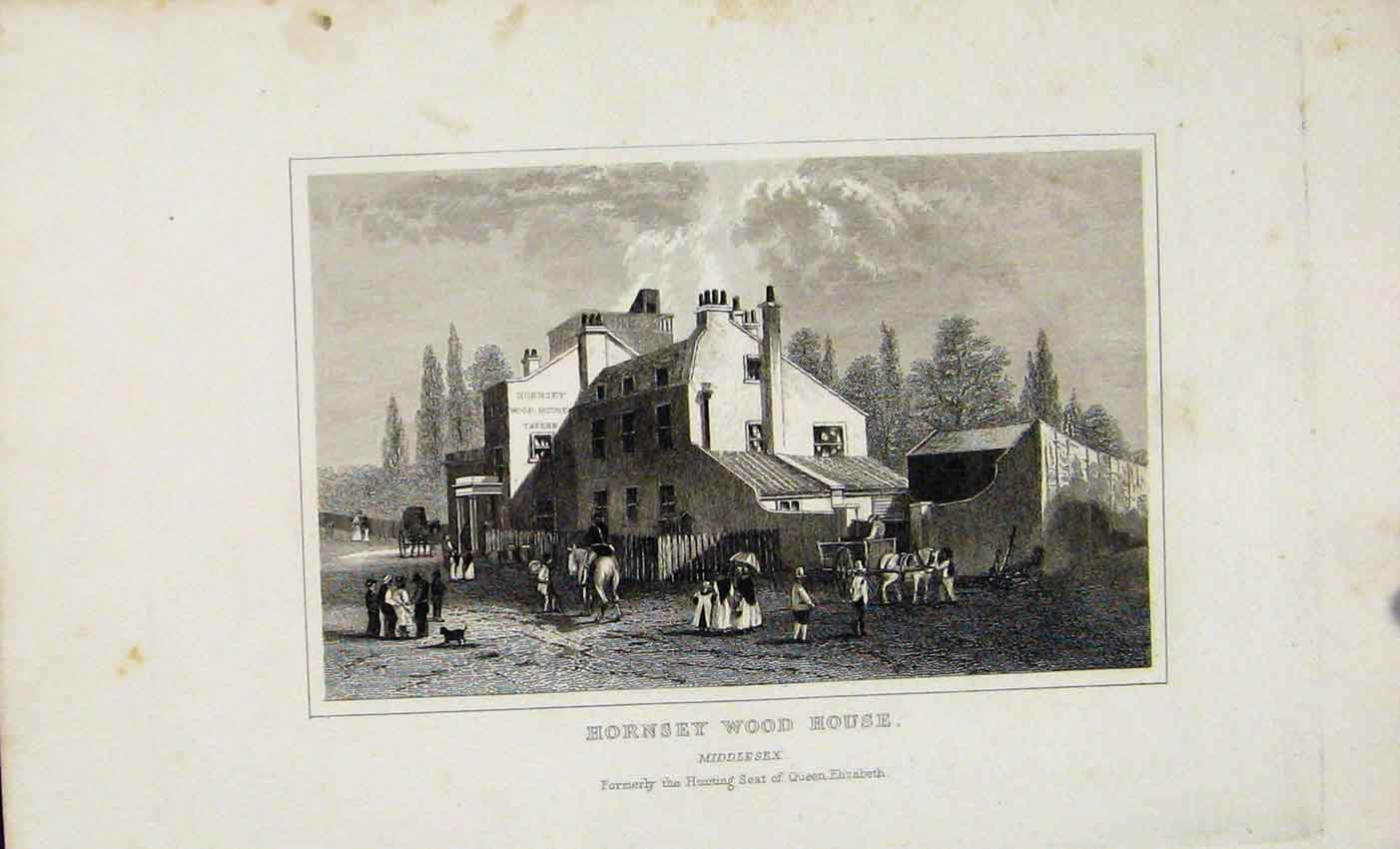 Print C1845 Dugdale Hornset Wood House Middlesex England 737541 Old Original